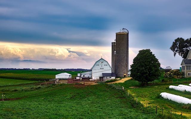 Wisconsin, Dairy Farm, Silo, Barn, House, Landscape