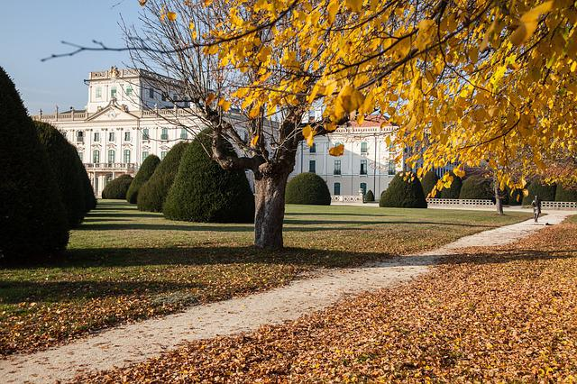 Autumn, Castle, Building, Baroque, Park, Architecture