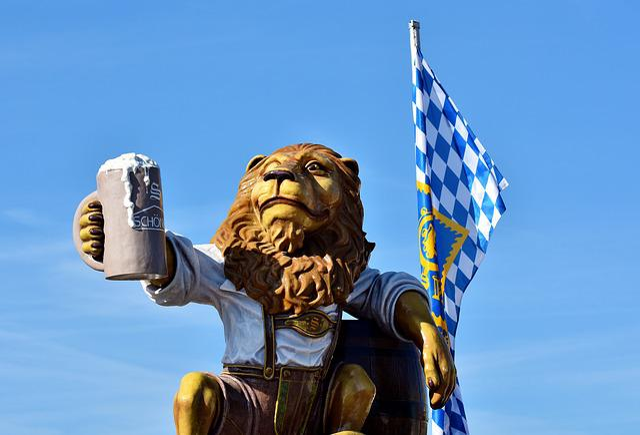 Lion, Figure, Beer Mug, Barrel, Beer Tent, Bavaria