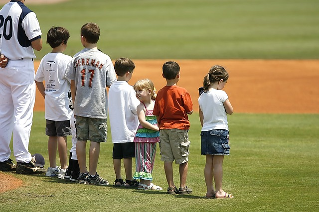 National Anthem, Baseball Game, Baseball Fans, Children