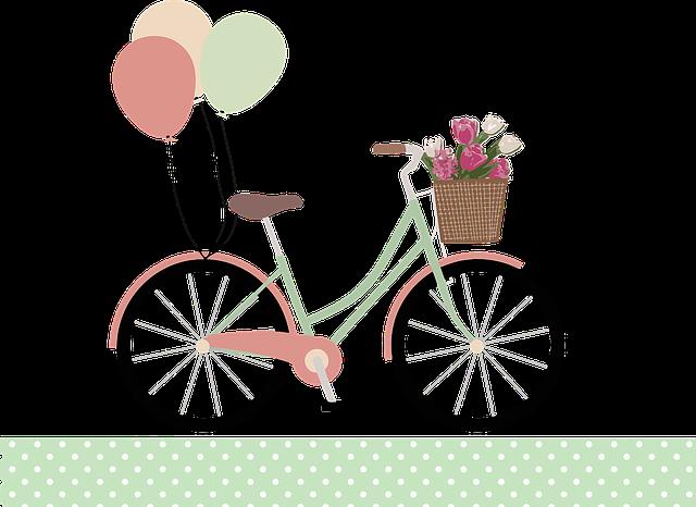 Balloons, Basket, Bicycle, Bike, Flowers, Ride