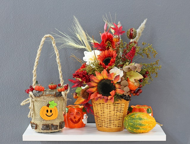 Flower, Basket, Bouquet, Decoration, Vase, Halloween