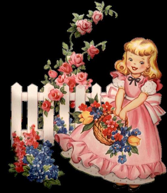 Vintage Girls, Flowers, Basket, Floral, Victorian