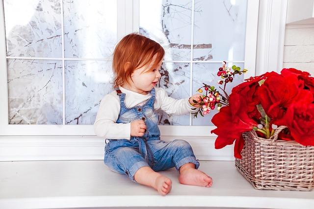 Kids, Joy, Childhood, Basket, Flowers, Red, Heans, Girl