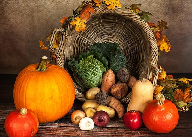 Pumpkin, Vegetables, Autumn, October, Basket, Savoy