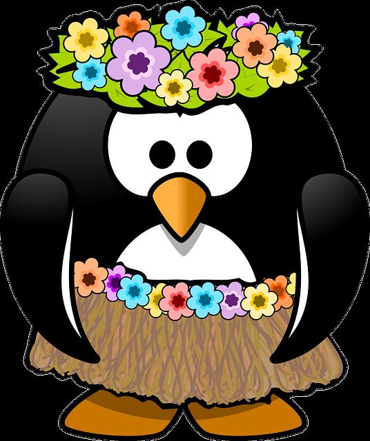 Penguin, Hula, Tux, Animal, Bast, Beach, Bird, Dance