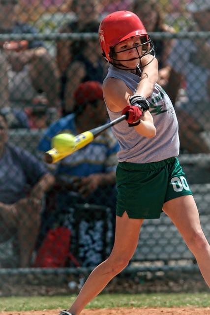 Softball, Action, Batter, Girl, Bat, Ball, Helmet