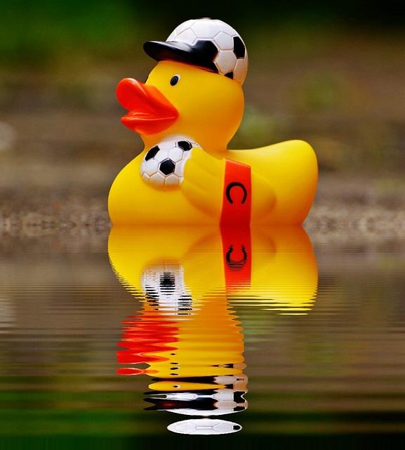 Rubber Duck, Bath Duck, Mirroring, Water, Football