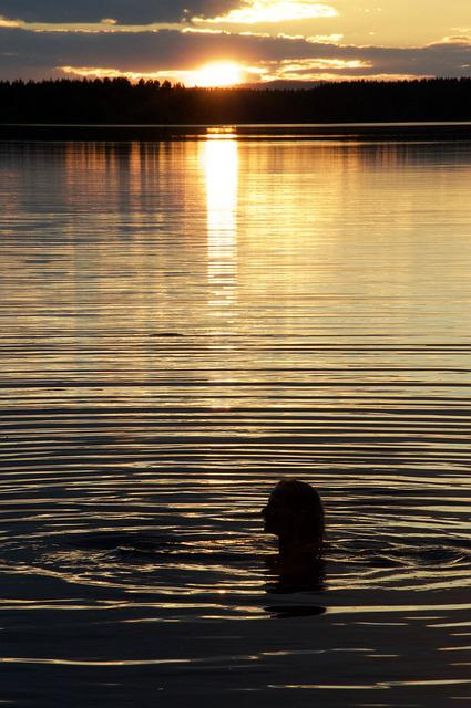 Bath, Sunset, Lake, Peaceful