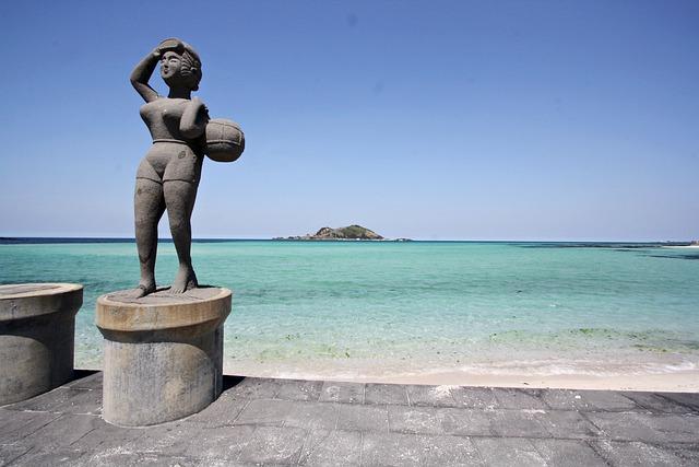 Stone Statue, Sea, Bathing Beach, Dock, Blue, Waves