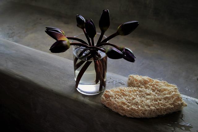 Cup, Bouquet, Bathroom, Bath, Concrete, Wet, Still Life