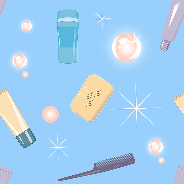 Bathroom Pattern, Bath, Shampoo, Tube, Comb, Texture