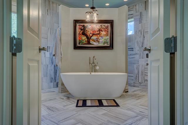 Bathroom, Tub, Bathtub, Gray Bathroom