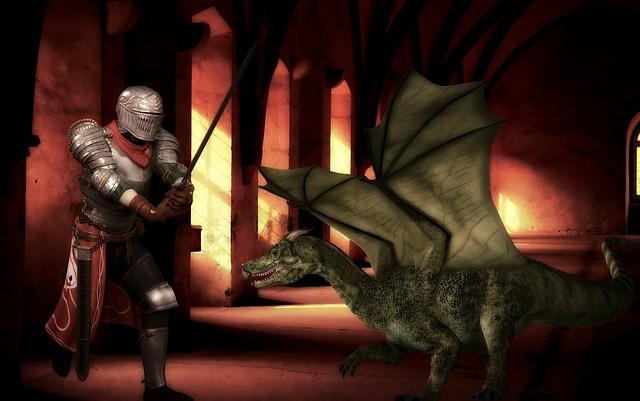 Knight, Dragon, Medieval, Fantasy, Armor, Magic, Battle
