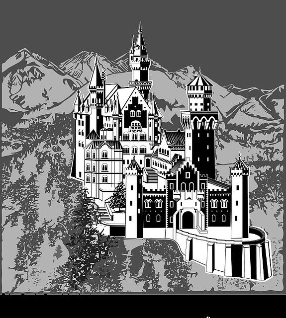 Art Deco, Bavaria, Black And White, Building, Castle