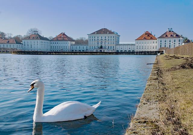 Munich, Bavaria, Germany, Castle, Nymphenburg, Swan