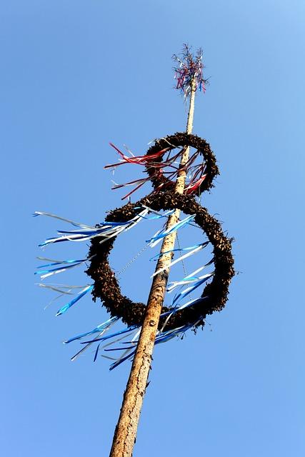 Maypole, Festival, Custom, Ritual, Bavaria, Blue, Sky