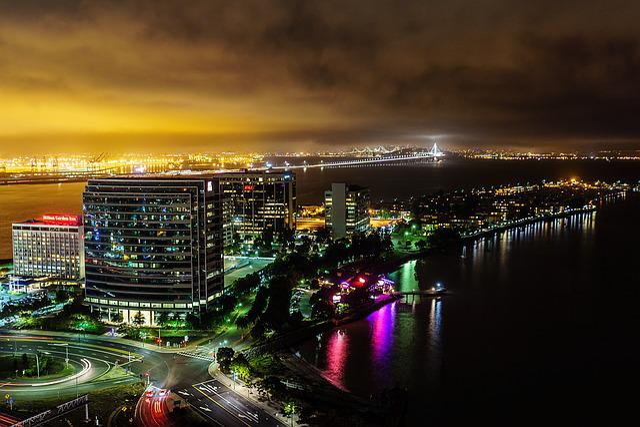 Emeryville, Bay Area, Bay Bridge, Night, Buildings