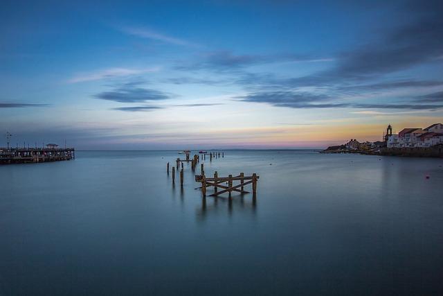 Bay, Old Pier, Ocean, England