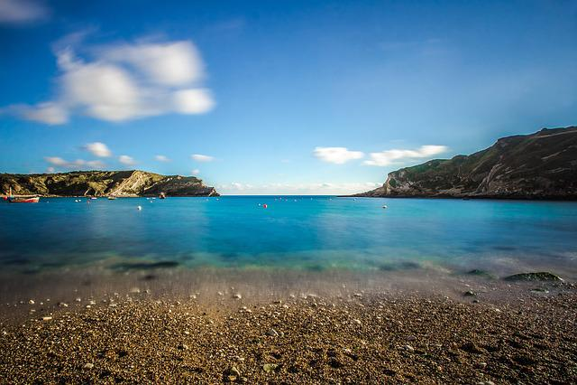 Bay, Ocean, Beach, Lulworth Cove, England
