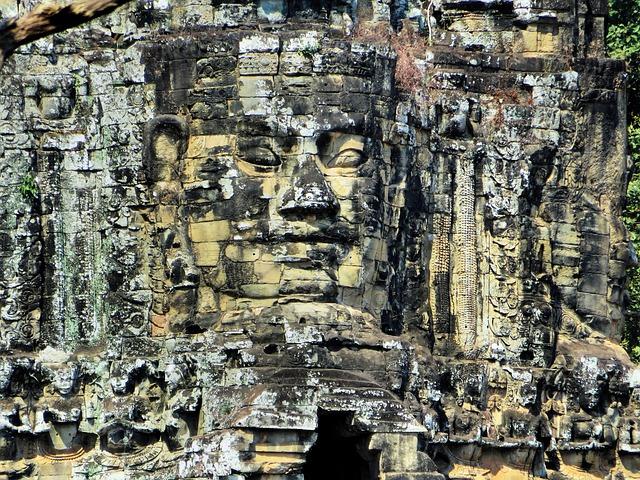 Cambodia, Angkor, Temple, Bayon, Face, Ruin, Look