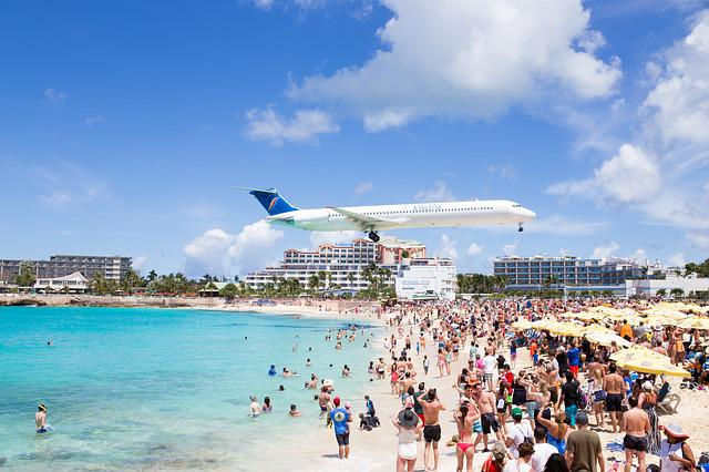 Airplane, Maho Beach, Saint Martin, Sint Maarten, Beach