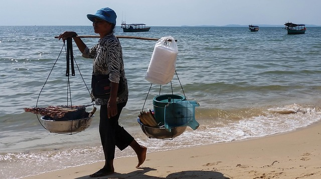 Cambodia, Asia, Sihanoukville, Sea, Beach, Woman