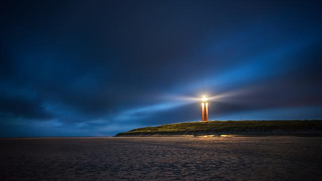 Sea, Lighthouse, Night, Away, Beach, Light, Time