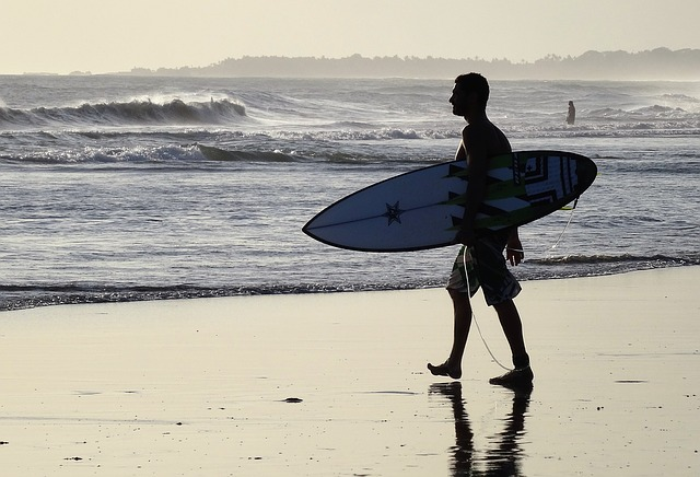 Surfer, Bali, Beach, Against The Light