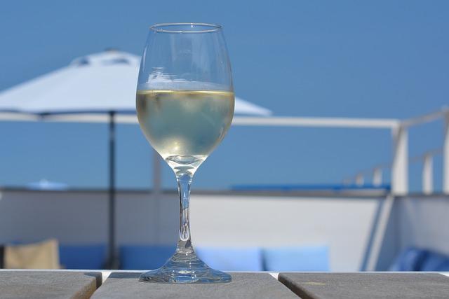 Wine, Glass, Holiday, Parasol, Blue Sky, Beach Bar