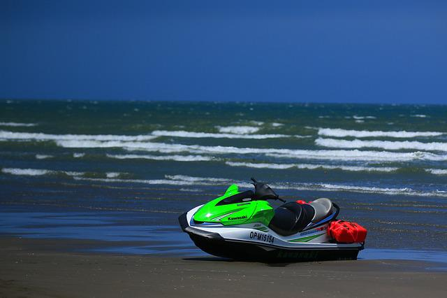 Blue Day, Sand Beach, Water Scooter, Beach, Summer, Sea
