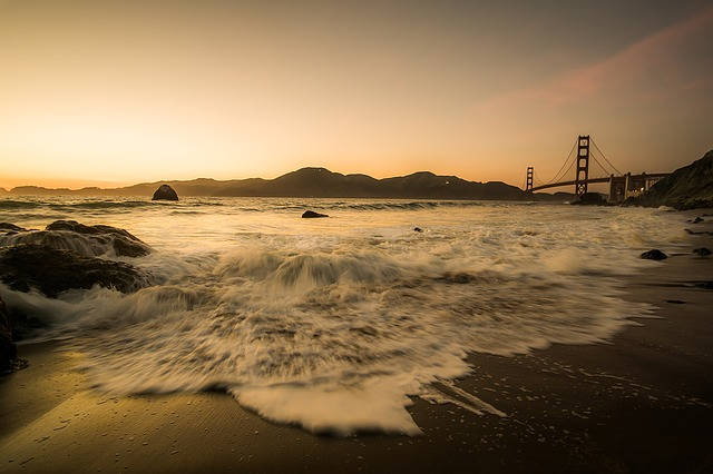 Bridge, Golden Gate Bridge, Sea, Ocean Sunset, Beach