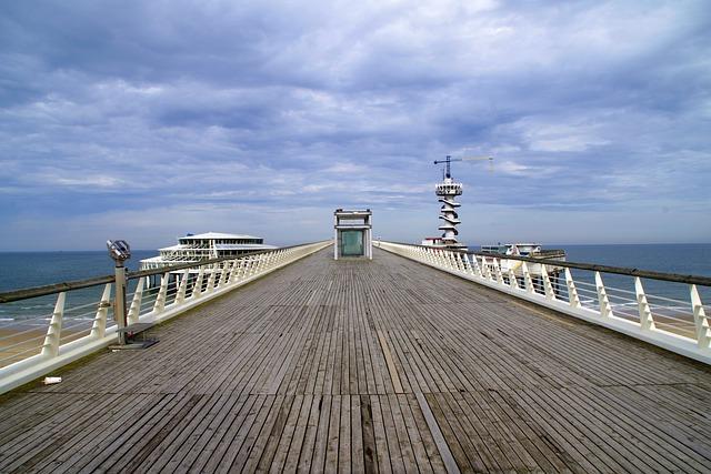 Scheveningen, Bridge, Sea, Beach, Sky
