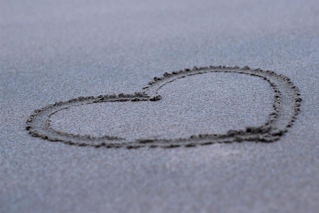 Heart, Beach, Love, Sand, Brushed