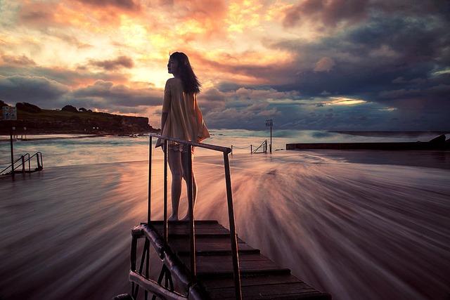 Girls, Beach, Sunset, Beautiful, Bridge, Sky, Cloud