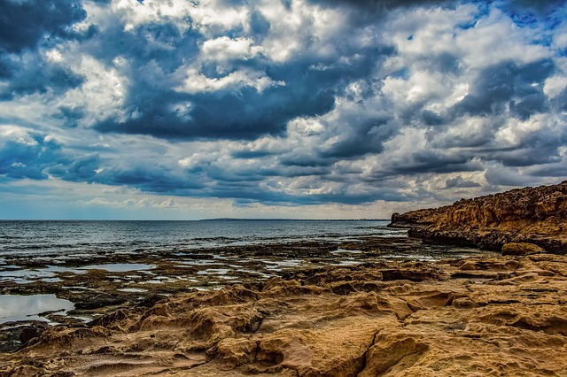 Rocky Coast, Sky, Clouds, Sea, Nature, Beach, Coastline