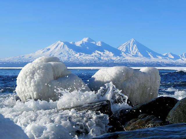 The Pacific Ocean, Sea, Beach, Coast, Winter, Snow, Ice
