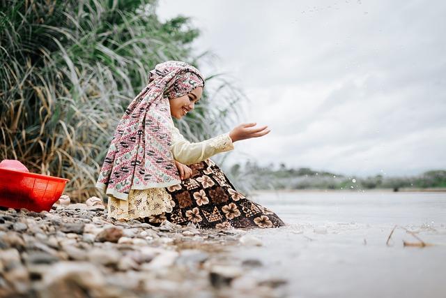 Woman, Hijab, Smile, Rocks, Seashore, Coast, Beach