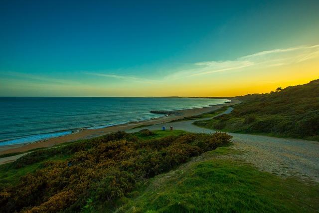 Beach, Sunset, Country, Highcliffe