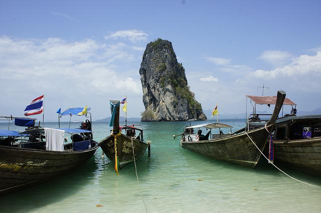 Thailand, Longtail Boats, Beach, Island, Tropical
