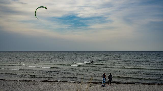 Baltic Sea, Kite Surfing, Sea, Water, Beach, Kite