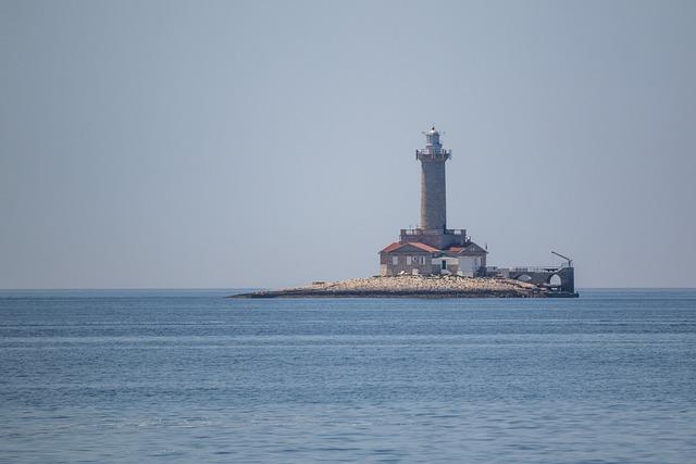 Lighthouse, Sea, Croatia, Water, Beach, Blue