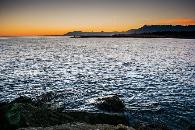 Sunset, Sea, Lighthouse, Sky, Sun, Beach, Rocks, Waves