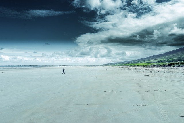 Beach, Lonely, Hiking, Ireland, Sea, Water, Loneliness