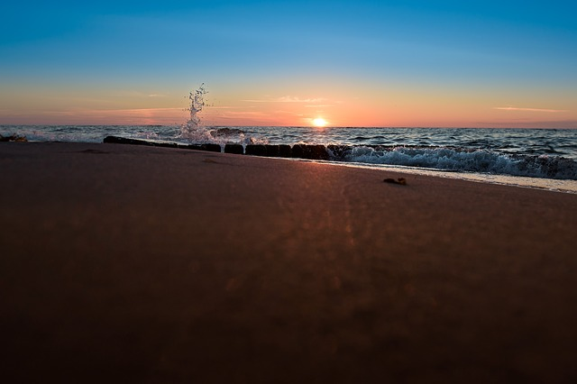 Sunset, Beach, Sea, Monolithic Part Of The Waters