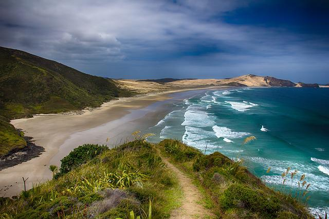 New Zealand, Hiking, Beach, Sea