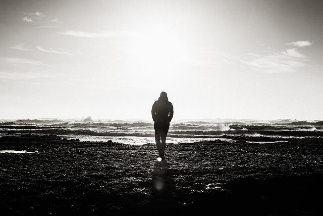 Beach, Black And White, Daytime, Landscape, Man, Ocean