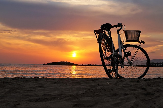 Bike, Bicycle, Velocipede, Beach, Sea, Sunset, Parking