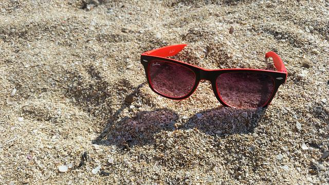Glasses, Beach, Sand, Sunglasses, Red