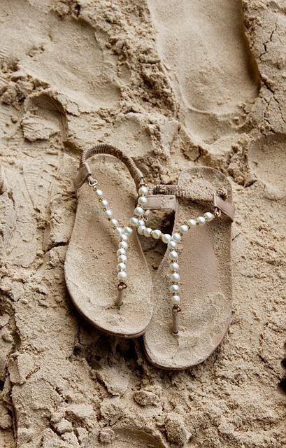 Sand, Beach, Slippers, Sandals, Footprint, Sand Beach